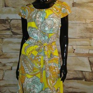 SILK KATE SPADE Dress with belt Sz L pastel colors